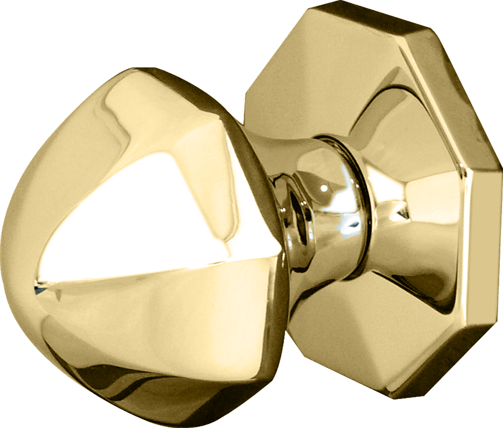 Dome Centre Door Knob Polished Brass