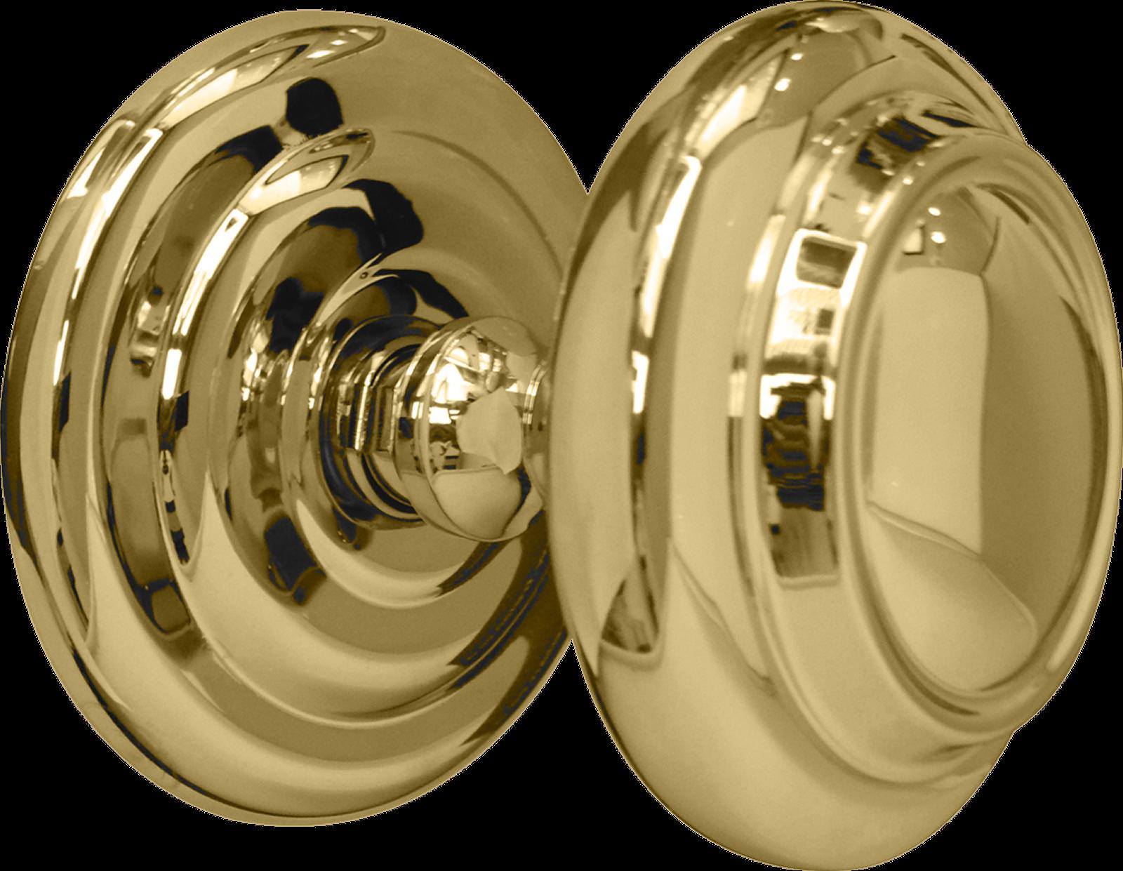 Large Centre Door Knob Polished Brass