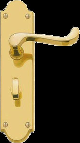 Scroll Lever Bathroom Lock Handles Shaped Plate Brass