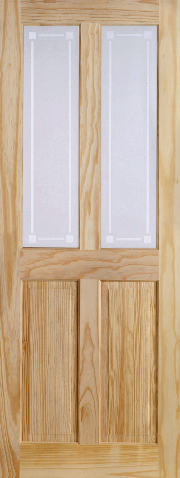 on sale ca815 da0d2 27 x 78 4-Panel 2-Light Pine Door Obscure Glass