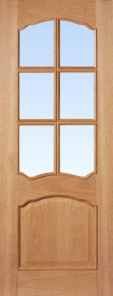 30 X 78 Louis Oak 6 Light Glazed Door