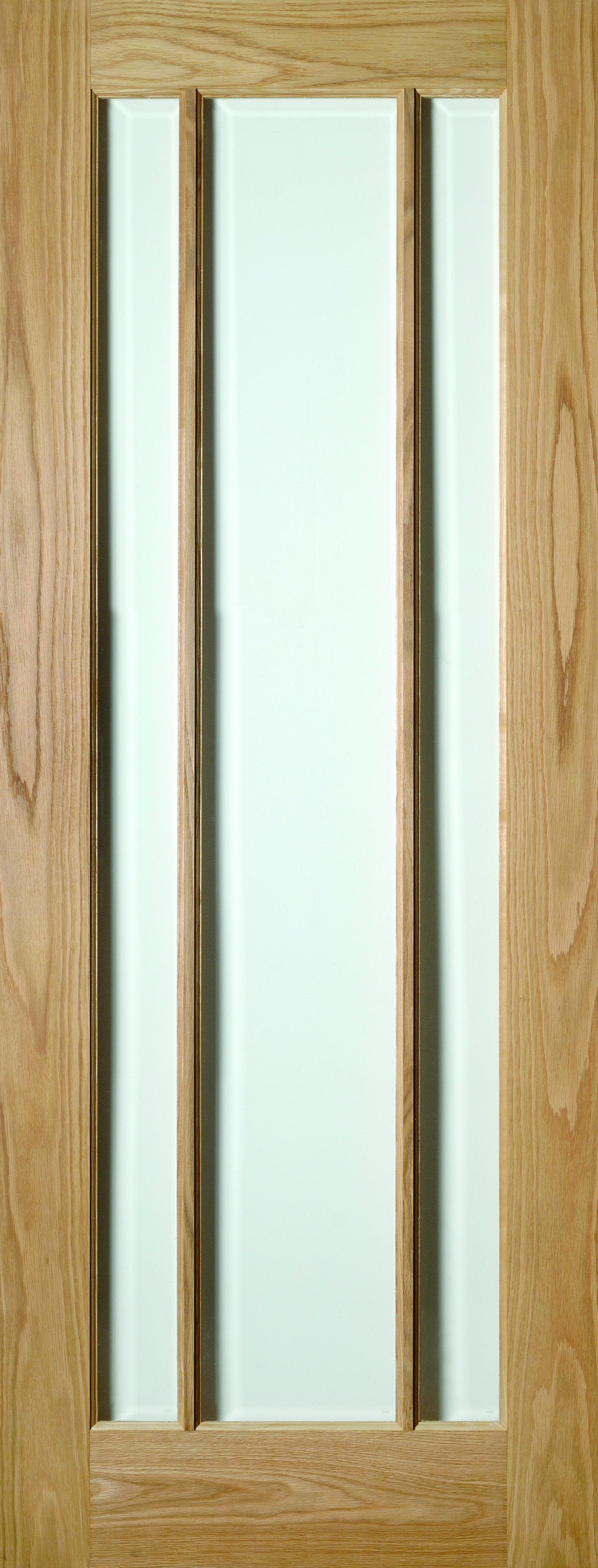30 X 78 Norwich Oak Door Clear Bevelled Glass