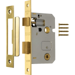 63mm Bathroom Lock Polished Brass