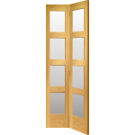 27 x 78 Shaker 4-Panel Oak Bi-Fold Door Clear Glazed