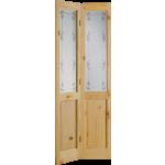 27 x 78 Bluebell Obscure Glass Knotty Pine Bi-Fold Door