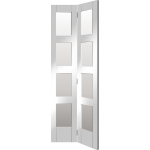 30 x 78 White Primed Clear Glazed 4-Panel Shaker Bi-Fold Door