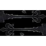 395mm Black Antique Fleur De Lys Hinges