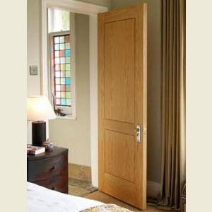 Inlaid Oak Veneer Two Panel Doors