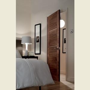 Four Panel V Grooved Walnut Doors