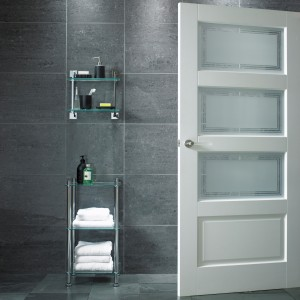 Contemporary 3 Light 1 Panel Etched Glass Doors White
