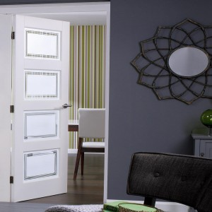 Contemporary 4 Light Etched Glass Doors White Primed