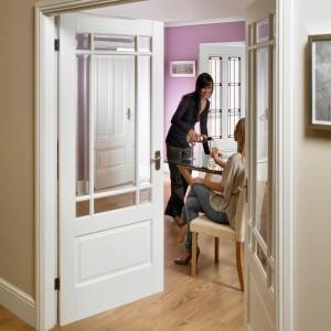 Downham Nine Light Glazed Doors White Primed