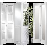 Glazed Mirrored Solid White Primed Bi Fold Doors