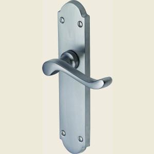 Savoy Satin Chrome Long Plate Door Handles