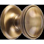 77mm Round Centre Door Knob Antique Brass