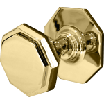 Octagonal Flat Centre Door Knob Polished Brass