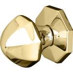 Octagonal Dome Centre Door Knob Polished Brass