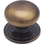 32mm Cupboard Knob On Rose Antique Brass