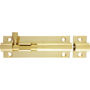 76mm x 25mm Straight Barrel Bolt Polished Brass