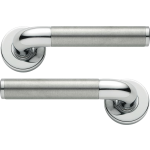 Adina Lever On Rose Door Handles Satin Nickel Polished Chrome