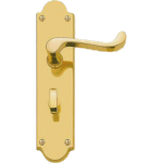 Shaped Scroll Lever Bathroom Lock Handles Polished Brass