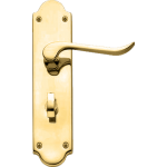 Chrissi Shaped Bathroom Door Handles Polished Brass