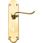 Chrissi Shaped Sash Lock Door Handles Polished Brass