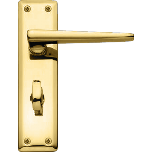 Lugano Bathroom Lock Door Handles Polished Brass