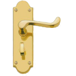 Scroll Lever Privacy Door Handles Shaped Plate Brass