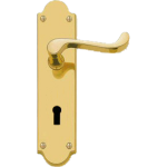 Shaped Scroll Lever Sash Lock Door Handles Polished Brass