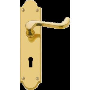 Shaped Scroll Lever Sash Lock Door Handles Polished Brass