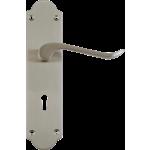 Chrissi Shaped Sash Lock Door Handles Satin Nickel