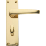 Victorian Bathroom Lock Door Handles Polished Brass