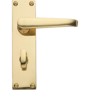 Victorian Bathroom Lock Door Handles Polished Brass