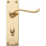 Victorian Scroll Bathroom Lock Door Handles Polished Brass