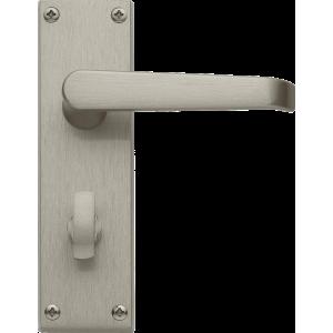 Victorian Bathroom Lock Door Handles Satin Nickel