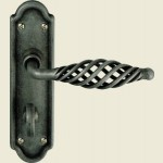 Cage Pewter Bathroom Lock Lever Handles