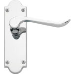 Chrissi Shaped Latch Door Handles Polished Chrome