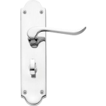 Chrissi Shaped Bathroom Lock Door Handles Polished Chrome