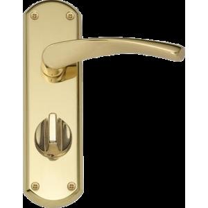 Garda Privacy Door Handles Polished Brass
