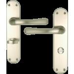 Genoa Bathroom Lock Handle Set Satin Nickel