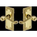 Georgian Brass Short Plate Latch Lever Handles