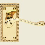 Georgian Scroll Latch Lever Short Plate Handles