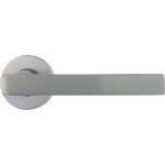 Laser Lever On Rose Door Handles Set Satin Chrome