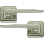Lugano Lever On Square Rose Door Handles Satin Nickel