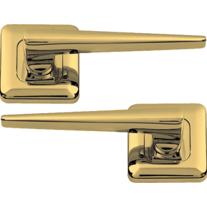 Lugano Lever On Square Rose  Door Handles Polished Brass