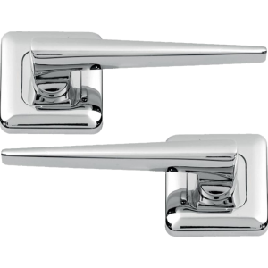 Lugano Lever On Square Rose Door Handles Polished Chrome