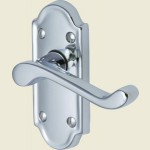 Meridian Polished Chrome Short Plate Lever Latch Handles