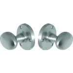 Architectural Quality Oval Door Knob Set Satin Chrome