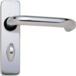 Round Bar Bathroom Door Handles Polished Aluminium